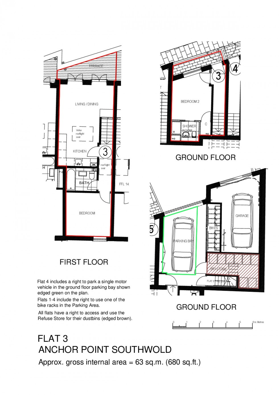 Floorplan for Flat No 3, Anchor Point, Southwold